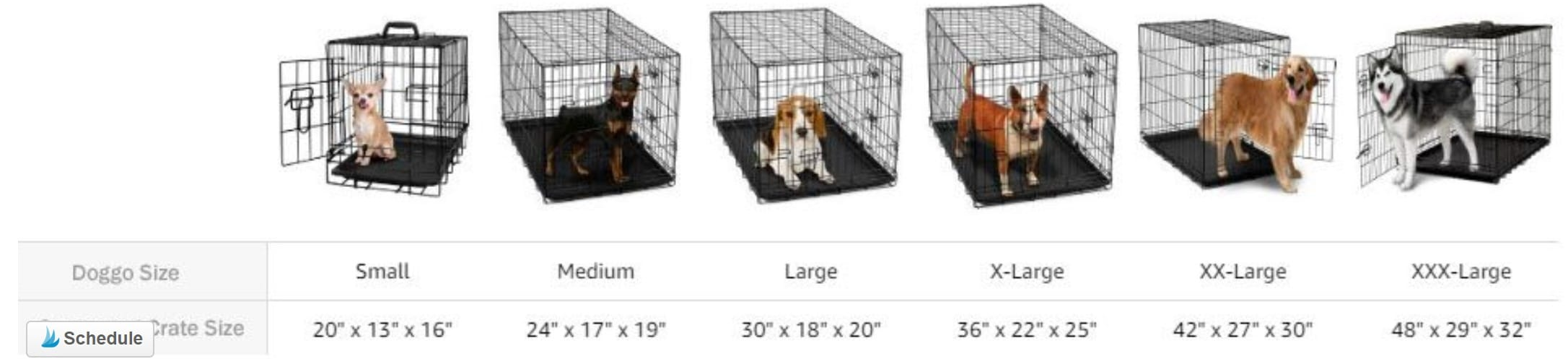 Suggested Dog Crate Sizes